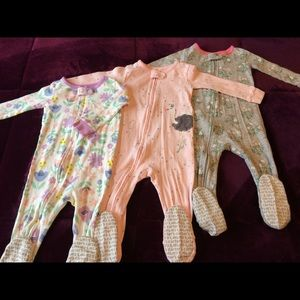 Set of 3 Carter's Footed Pajamas - Girls 12 months